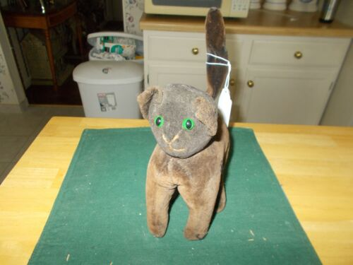 EARLY 1900S ALL VELVET STRAW STUFFED BLACK CAT WITH TURNING HEAD SMALL PIN ON IT