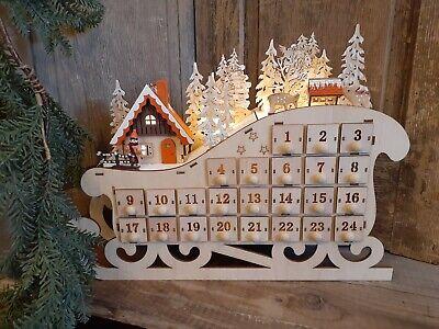 Countdown to Christmas -Wooden Advent Sleigh, Heirloom Advent Calendar, European