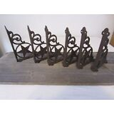 6 Cast Iron Antique Style Star Brackets, Garden Braces Shelf Bracket RUSTIC FARM