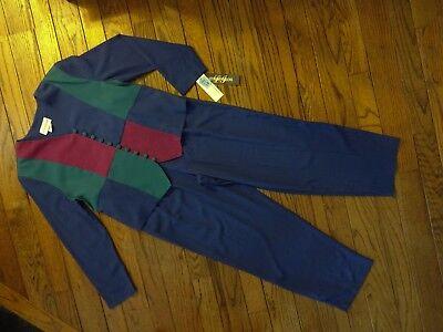 New! Lasting Impressions Blue Color Block Pant Suit      Size 16