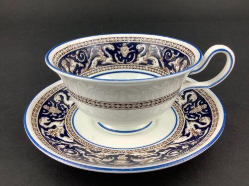 Wedgwood Dark Blue Florentine Peony Shape Cup & Saucer