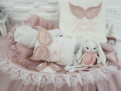 NEU! Baby Strampler Decke mit Namen Engelflügel Strass - Baby Engel Mit Flügeln