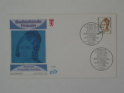 (k827) Berlin Schmuck FDC Michel Nr. 827 Frauen M.F. Anneke Frauenrechtlerin