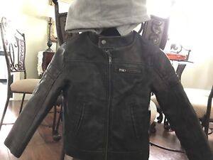 EUC dark brown leather jacket with detachable hoodie for boys