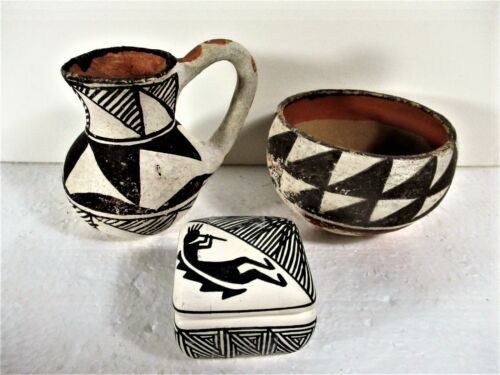 GROUP OF 3 SMALL ACOMA POTS, PITCHER, BOWL, COVERED JAR