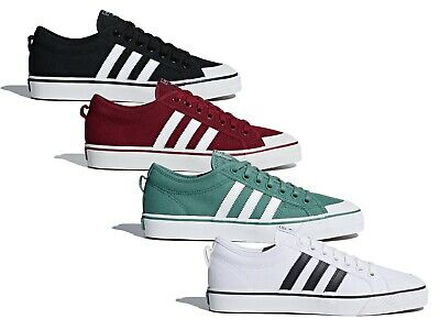Mens Adidas Originals Nizza Canvas Trainers Shoes Black Green White Red