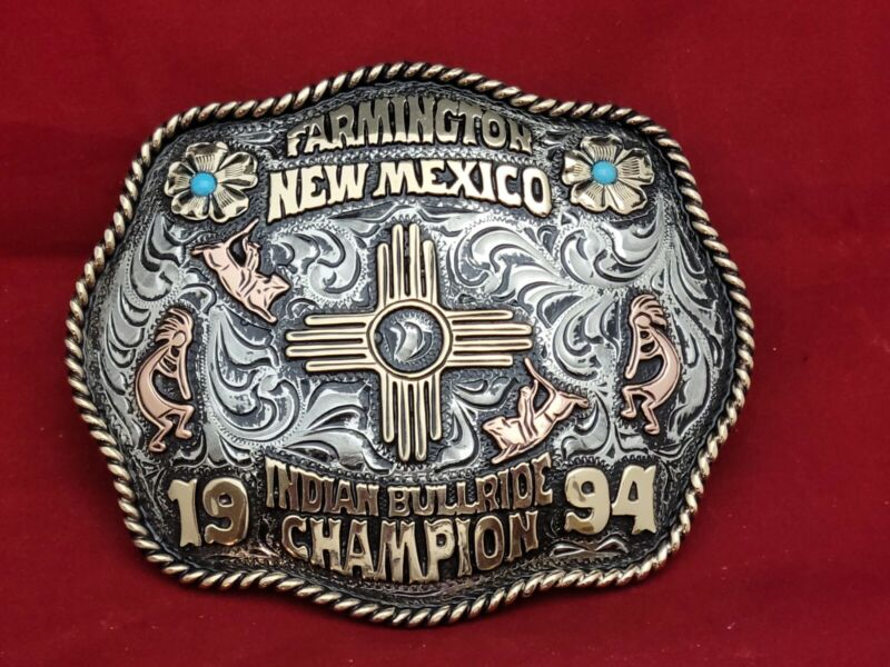 FARMINGTON NEW MEXICO BULL RIDING CHAMPION RODEO TROPHY BUCKLE☆1994☆VINTAGE 836