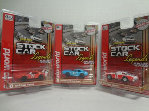 Auto World SC355 Stock Car Legends XTraction Ultra-G Electric Slot Car Set of 3