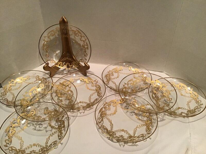 9 Antique Bohemian Moser or Moser School Enamel Gilded Glass Plates