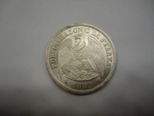CHILE 1882 So (Doubled 8) (25 GRAM) SILVER UN (1) PESO Unc KM#142.1 Rare