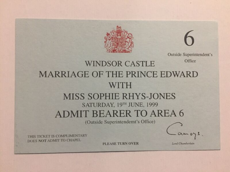 1999 The Royal Wedding Prince Edward & Sophie Rhys-Jones Ticket Windsor Castle
