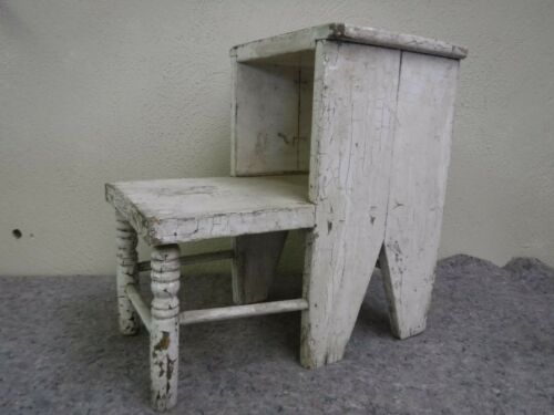 Unusual Vintage Wooden 2 Step Stool With Original White Paint