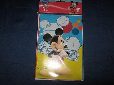6 Walt Disney Karten,Micky Maus,Glückwunsch,Einladung, mit Umschlag, NEU!! OVP!! ()