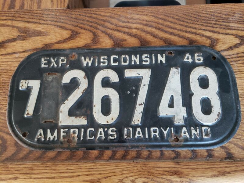 1946/52 Wisconsin License Plate Ford  Chevrolet Dodge Cadillac 47 Ford