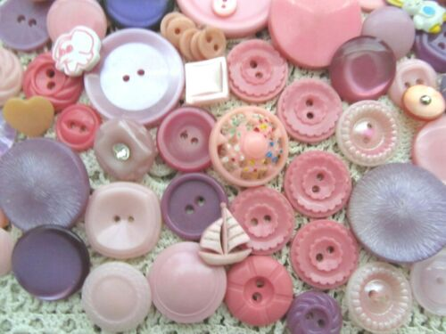 VINTAGE MODERN LOT OF SHADES OF PINK & PURPLE BUTTONS