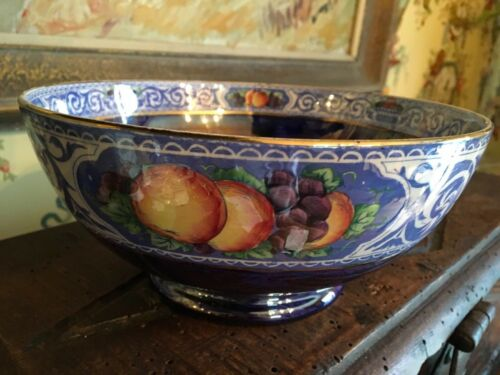 English Blue Luster Bowl Fruit Design Vintage Lovely