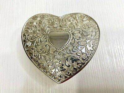 Vintage Silver-toned Heart-shaped Trinket Box