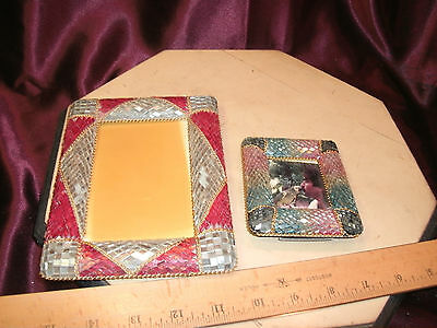 2 Vtg PICTURE FRAMES-color diamond design-3