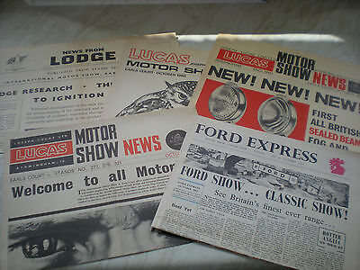 A Collection Of 5 Newspapers About The Motor Show @ Earles Court In The 1960's