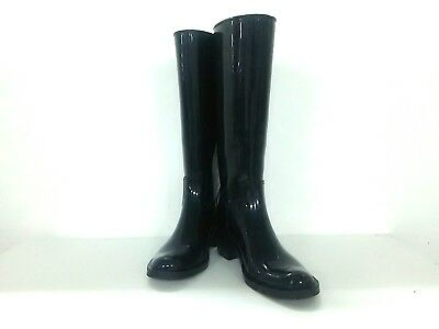 Auth GUCCI Double G Black Rubber Boots Women