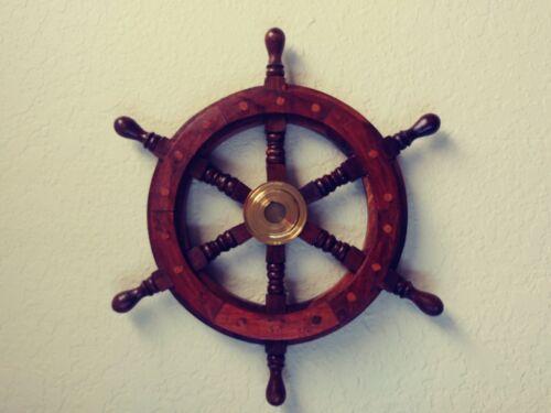 "13"" Wood / Brass Ship Wheel ~ Boat Captain Steering Helm ~ Nautical Wall Decor"
