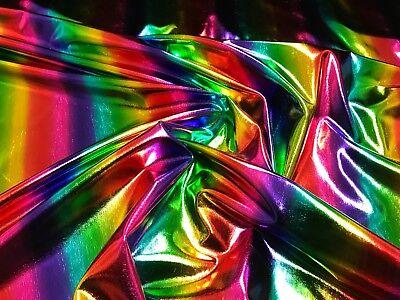 Lurex Foliendruck Stoff Regenbogen viele Bunte Farben Karneval Kostüm (Allgemeine Kostüm)