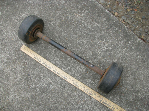 "vtg 7x3 GOODRICH SOLID RUBBER INDUSTRIAL WHEELS w YALE HUBS 18"" AXLE cart dolly"