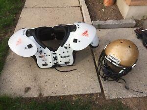 Football pads and helmet