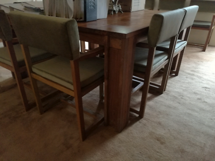 Solid teak modern style square table with 8 chairs