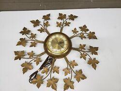Mid Century United Clock Corp Maple Leaf Plug In Wall Clock 23 (j20)