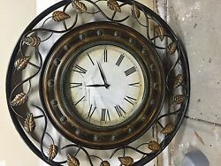 Oversized Tuscan-inspired 36 Wall Clock with cracked glass face