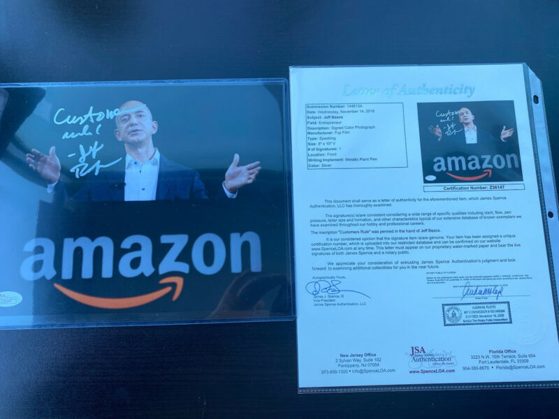 "RARE JEFF BEZOS SIGNED 8X10 PHOTO JSA AUTOGRAPH LOA AMAZON CEO ""Customers Rule!"""