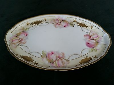 VINTAGE PROV SAXE E. S. GERMANY PORCELAIN HAND PAINTED SERVING PLATTER