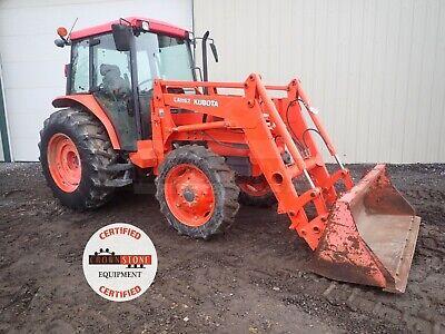 2004 Kubota M6800 Tractor W Loader Cab 4x4 3 Pt 540 Pto Heat Ac 491 Hrs