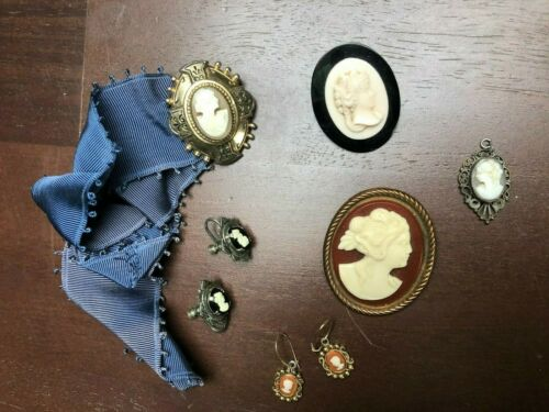 Vintage Antique 6 Piece lot of Cameos  Earrings, Pins, Necklace