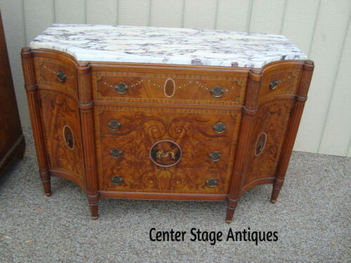 59102 VINTAGE INLAID MARBLE TOP SERVER CHEST Hand Painted Cherubs