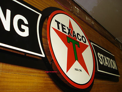 Texaco Filling Station Gas & Oil DOUBLE LAYERED METAL SIGN (( SHIPS WORLDWIDE ))