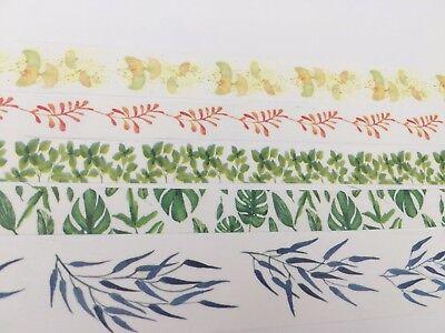 Natural Washi tape Leaves Twig Fern Gingko Monstera Bamboo Wide Tape