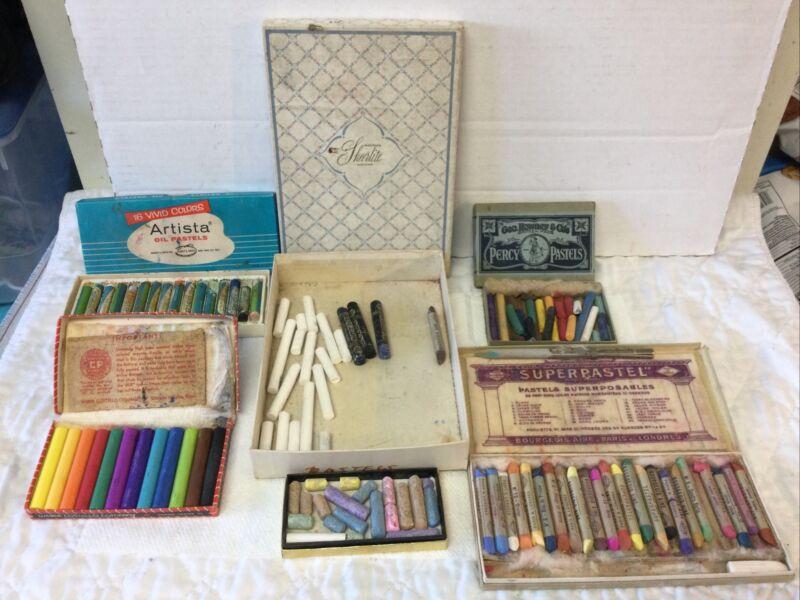 Big Lot Vtg Oil Pastels Chalk Crayons Original Boxes Binney Smith Bourgeois Aine