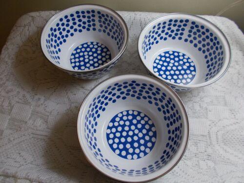 Golden Rabbit Enamel Ware Nancy Green POLKA DOT - Lot of 3 Soup / Cereal Bowls