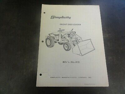 Simplicity Front End Loader Manual  Mfrs. No. 412