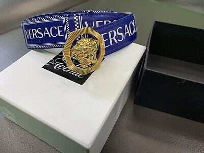 Versace DCU6715 Vintage Logo Leather Belt 85 / 34 Blue $495 Sold Out