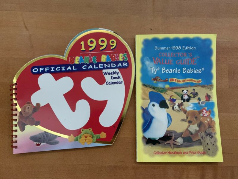 Beanie Babies Collectors Value Guide Book & 1999 Beanie Babies Official Calendar
