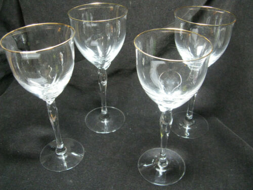 """4 Lenox Unity Gold 8 1/2"""" Water Goblets or Red Wine Glasses"""