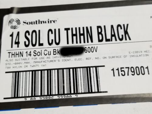 Southwire #14awg Solid THHN/THWN-2/MTW Building Wire Cable Black /100ft