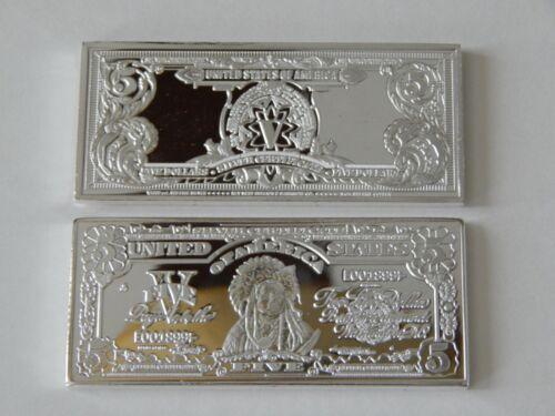 $5 1899 SERIES CHIEF SILVER CERTIFICATE 1 OZ .999 FINE SILVER CLAD/COPPER BAR