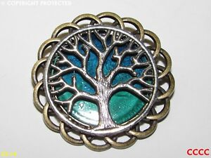 steampunk brooch badge pin silver tree of life green blue Harry Potter