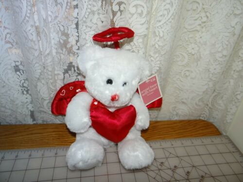 "Target White Bear Plush Halo Angel Valentine Day Stuffed Red Heart 13"" NWT"