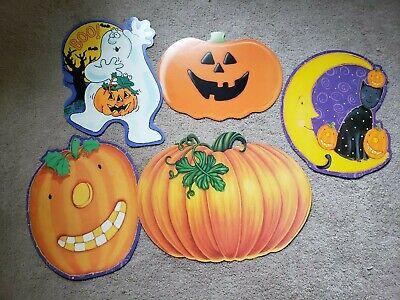 5 Vintage Halloween Cut Outs Diecut Hallmark Pumpkins & Ghost Decorations 1980's