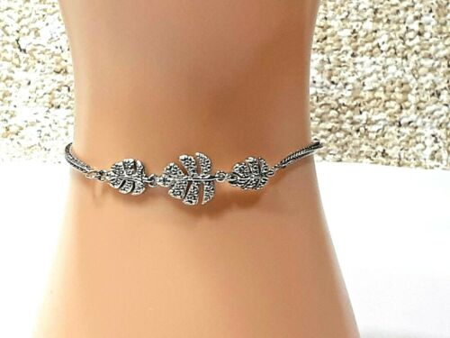 DIAMOND ACCENT TROPICAL LEAF BOLO STERLING SILVER &STAINLESS STEEL BOLO BRACELET